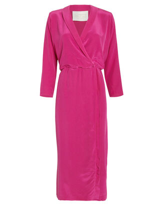 Liza Silk Midi Dress, MAGENTA, hi-res
