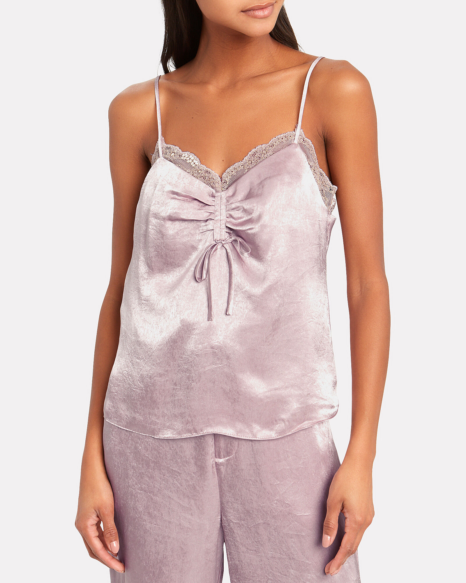 Lace-Trimmed Satin Camisole, PALE PINK, hi-res