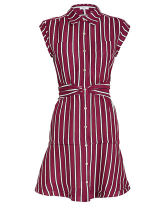 Striped Twist Waist Shirt Dress, RED-DRK, hi-res