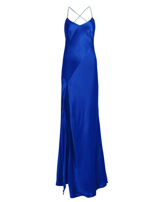 Bias Cut Silk Charmeuse Gown, BLUE, hi-res