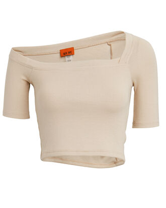 Harring One-Shoulder Crop Top, BEIGE, hi-res