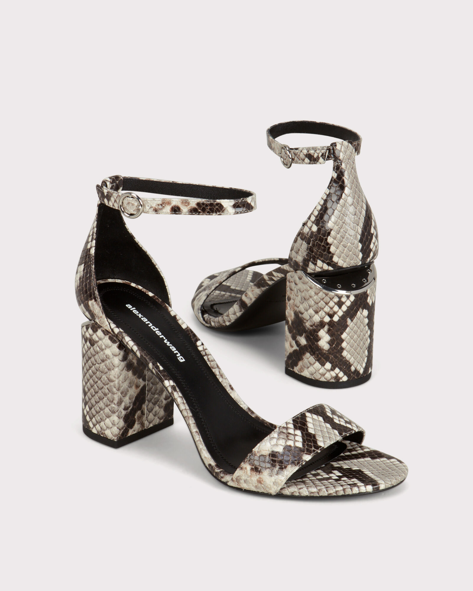 Abby Cutout Heeled Sandals, BLK/WHT, hi-res