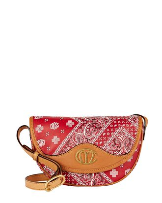 Christy Logo Paisley Leather Crossbody Bag, RED, hi-res