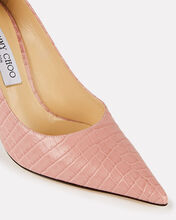 Love 100 Croc-Embossed Pumps, PINK, hi-res