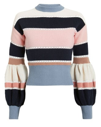 Striped Knit Sweater, IVORY/BLUE/PINK, hi-res