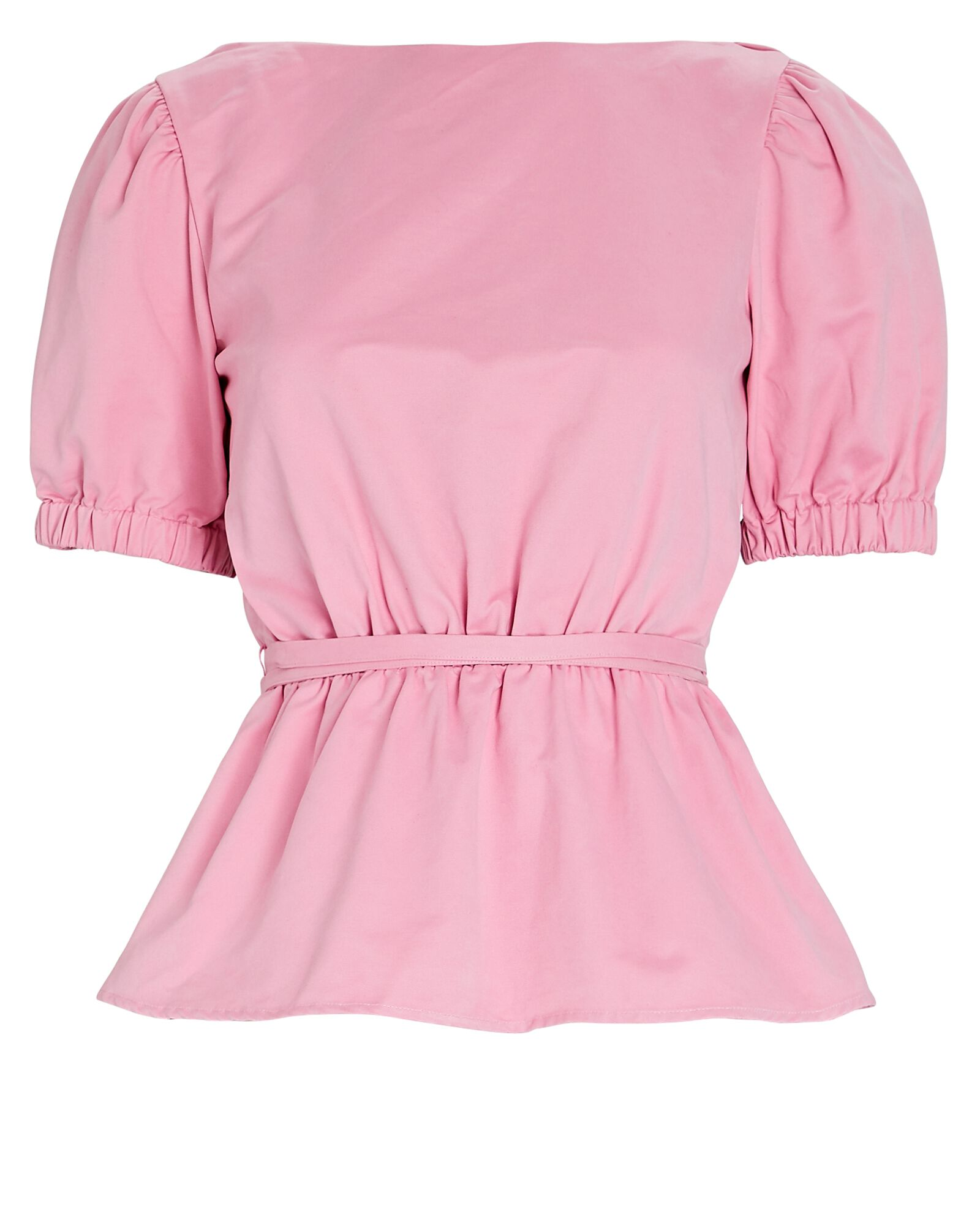 Marie Puff Sleeve Poplin Top, PINK, hi-res