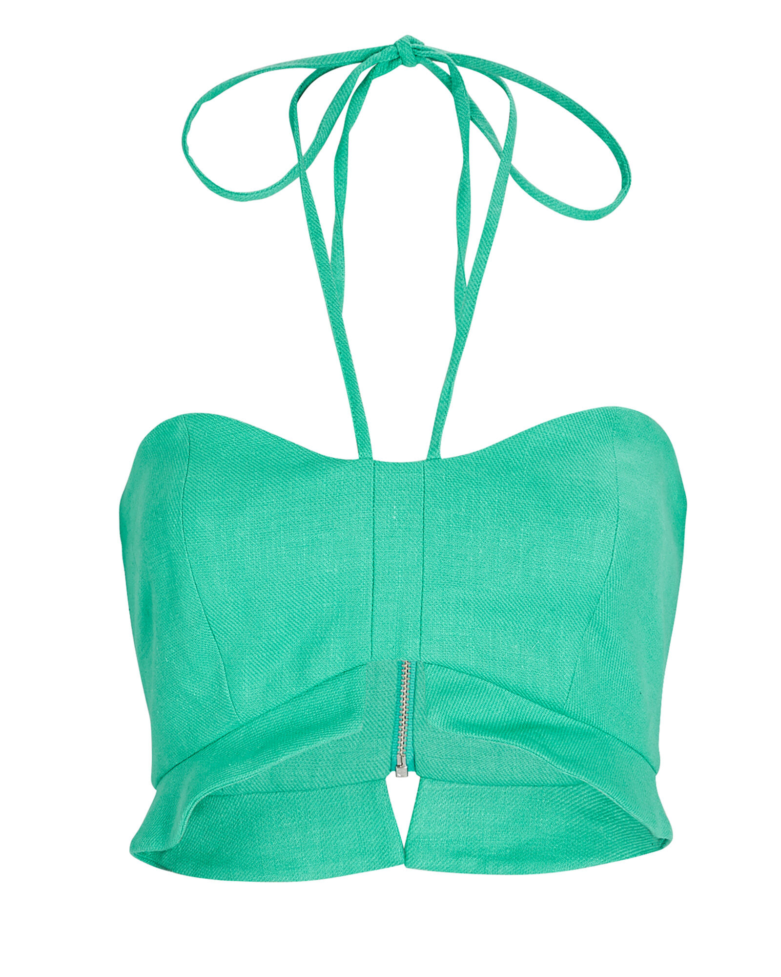 Addy Cropped Twill Halter Top, GREEN, hi-res