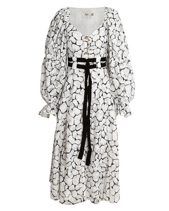 Rebellion Lace Belted Midi Dress, WHITE/BLACK, hi-res