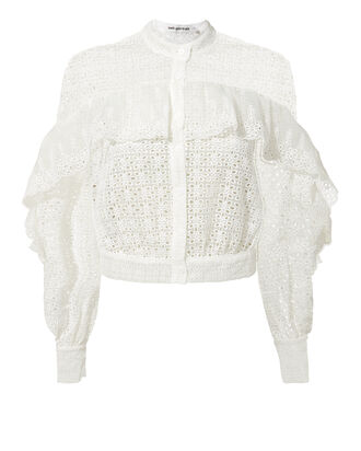 Floral Organza Cutwork Top, WHITE, hi-res