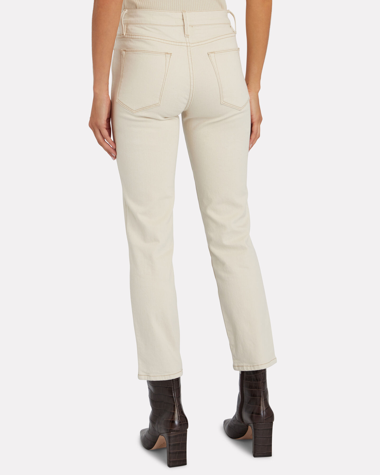 Le High Double Needle Straight Jeans, IVORY, hi-res