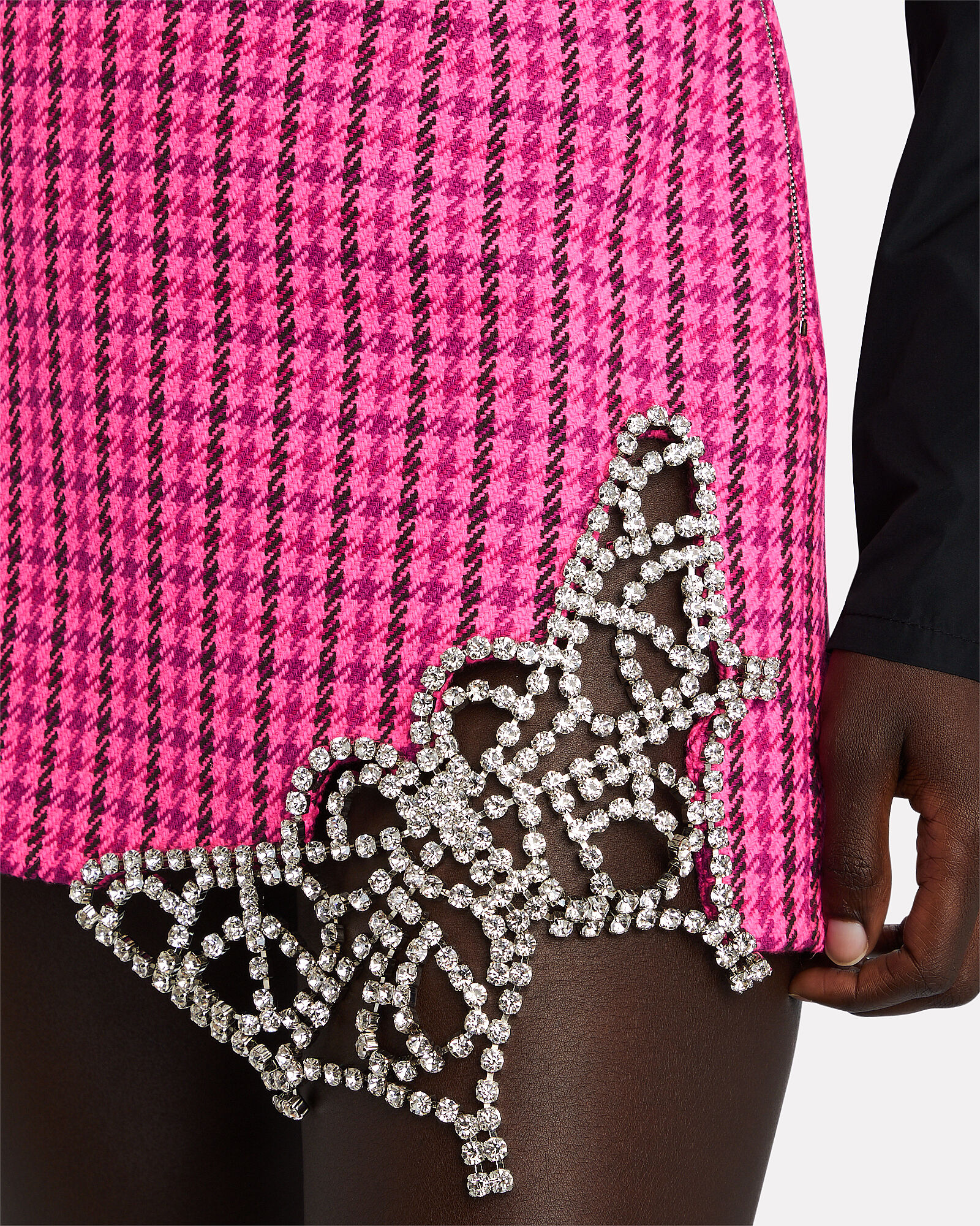 Crystal Butterfly Houndstooth Mini Skirt, PINK, hi-res