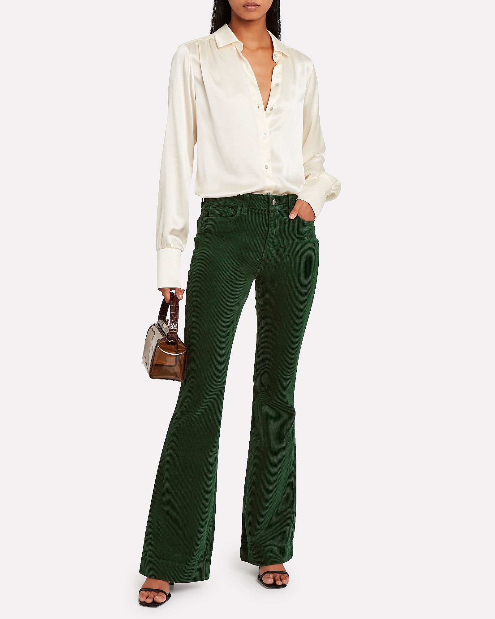 The Affair Flared Corduroy Jeans, GREEN, hi-res