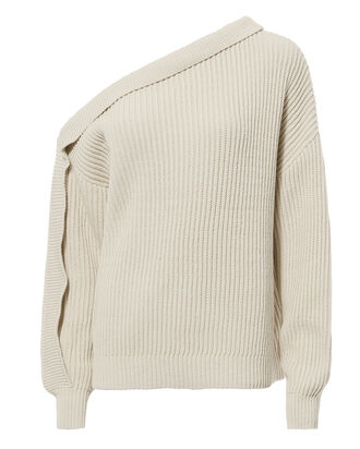 Curtis One Shoulder Sweater, IVORY, hi-res