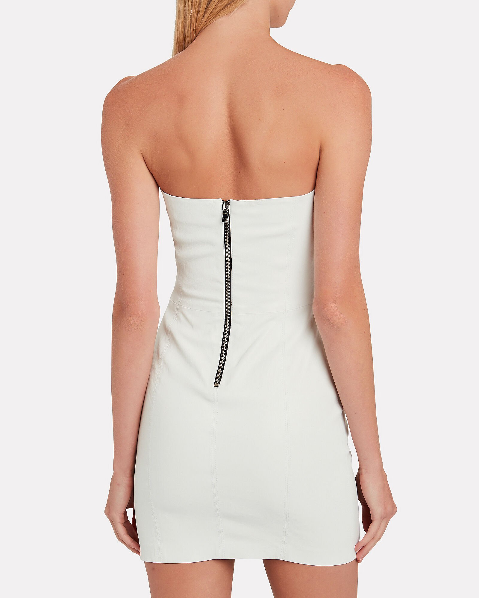 Strapless Leather Mini Dress, WHITE, hi-res