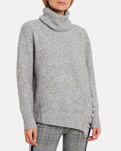 Fringe Overlap Turtleneck Sweater, GREY, hi-res
