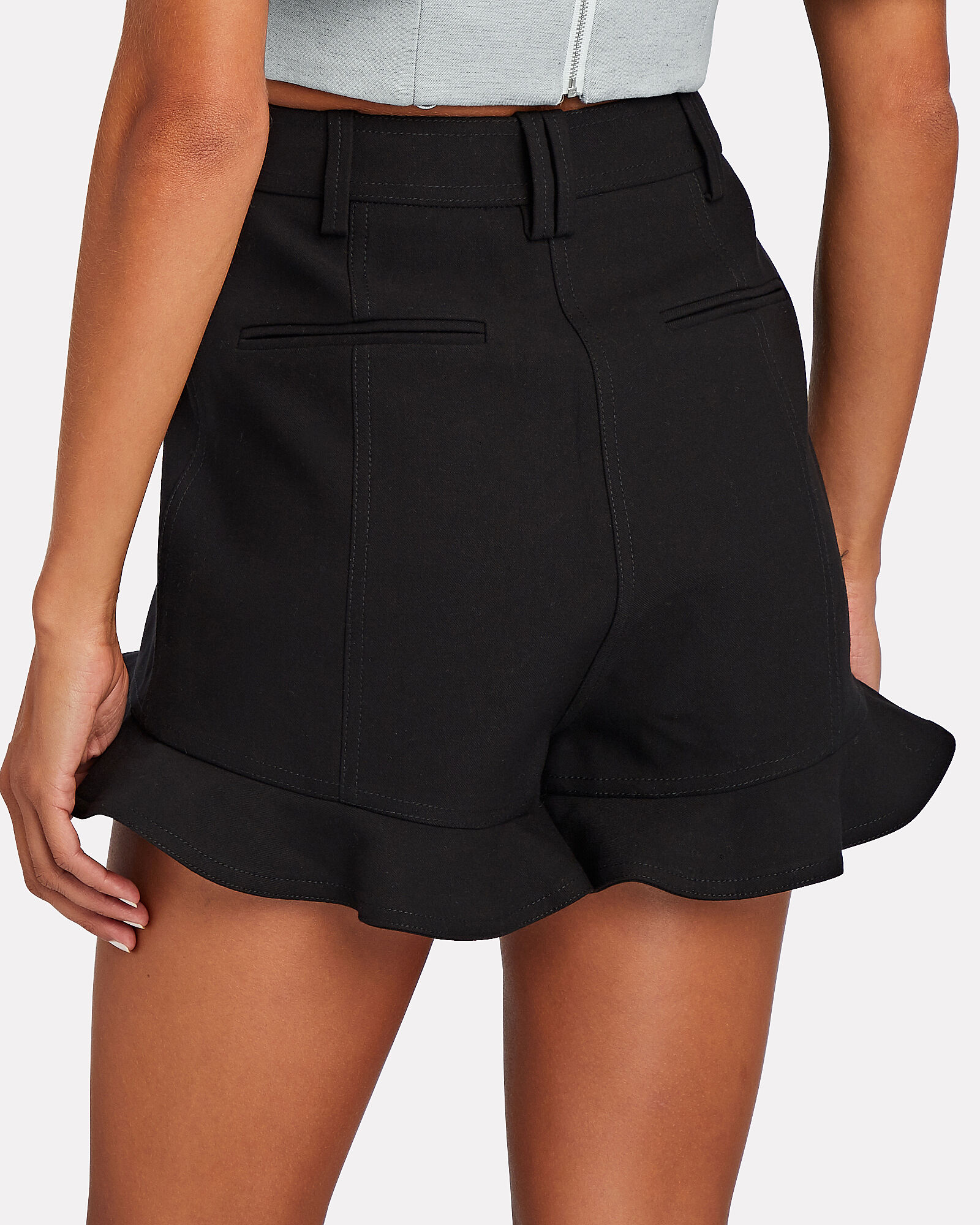 Fisher Ruffled Twill Shorts, BLACK, hi-res