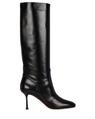 Leather Knee-High Boots, BLACK, hi-res