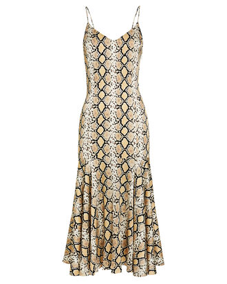 Kai Satin Slip Dress, BROWN/PYTHON, hi-res