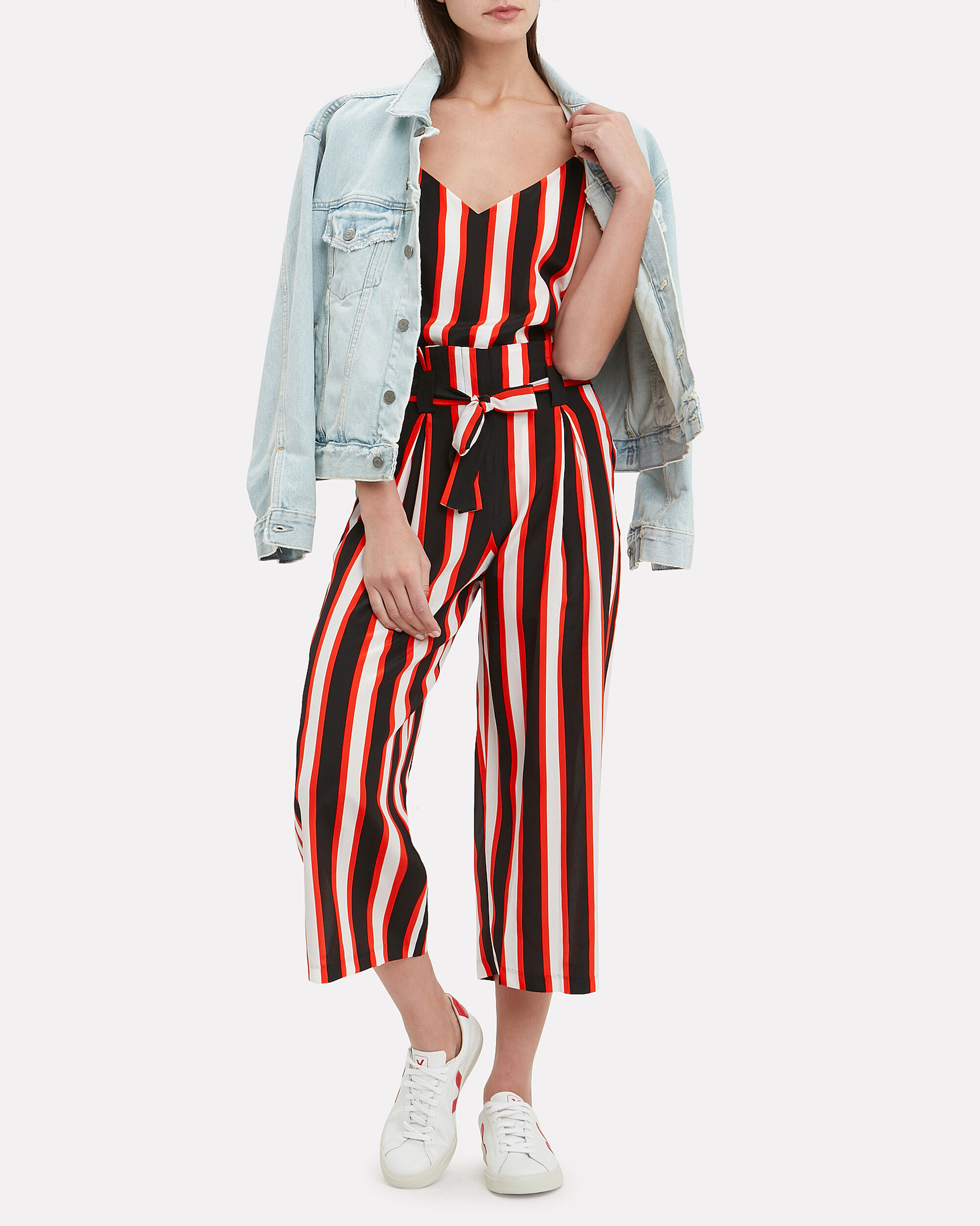Samira Paperbag Pants, BLACK/WHITE/RED, hi-res