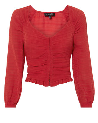 Lillian Shirred Blouse, RED, hi-res