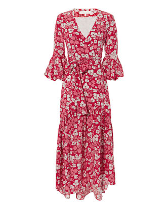 Ingrid Wrap Midi Dress, PINK, hi-res