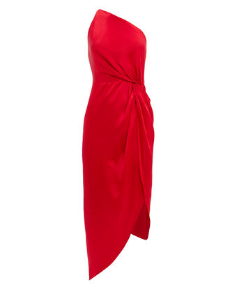 Twist Knot One Shoulder Dress, RED, hi-res