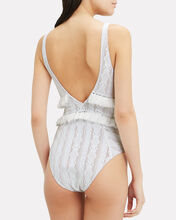 Lace Ruffle One Piece Swimsuit, WHITE, hi-res