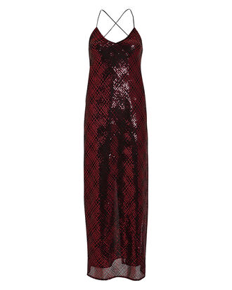Sequin Embellished Mesh Slip Dress, BLACK/RASPBERRY, hi-res