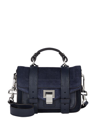 PS1 Suede Mini Crossbody, NAVY, hi-res