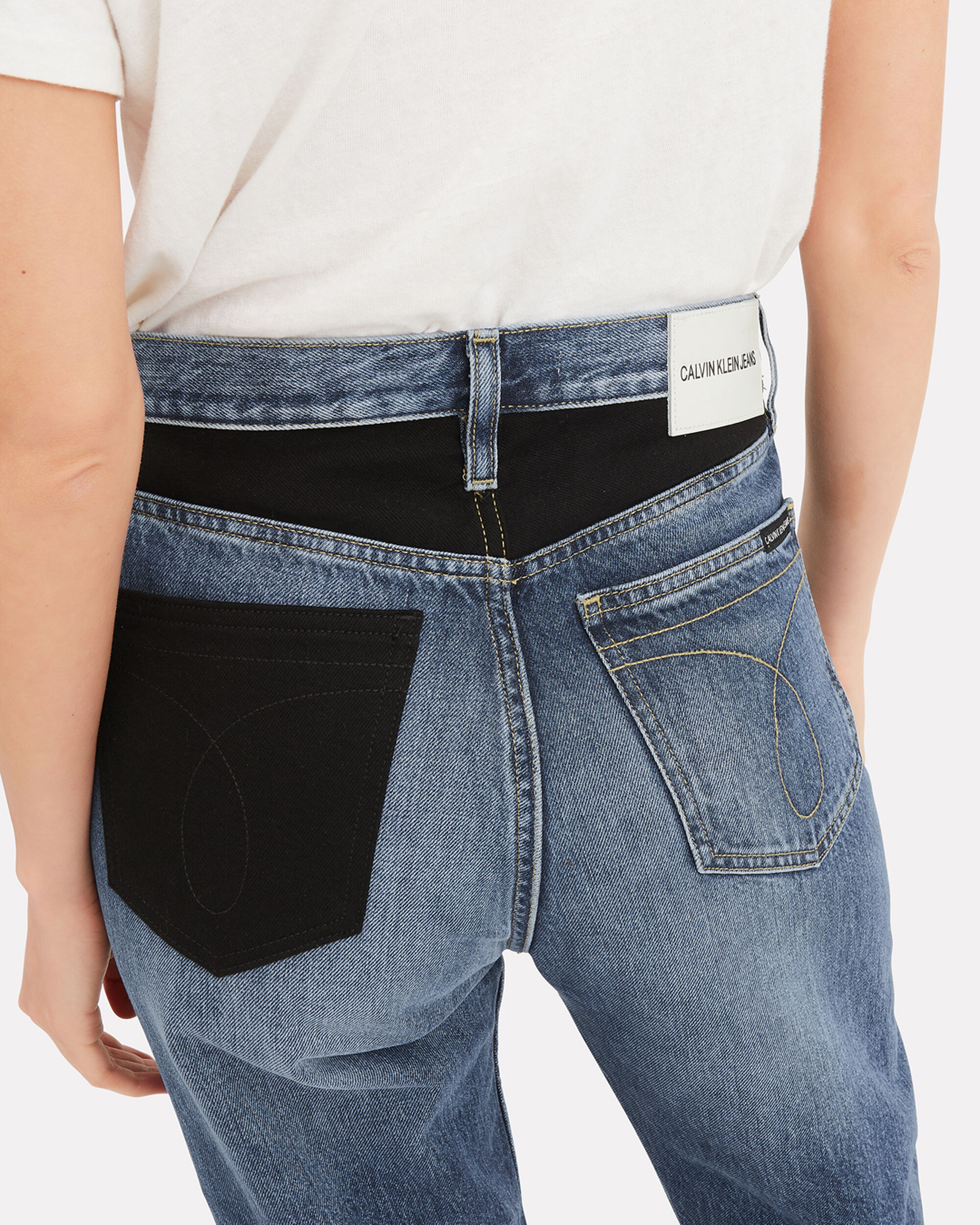 High-Rise Straight Patch Jeans, DENIM, hi-res
