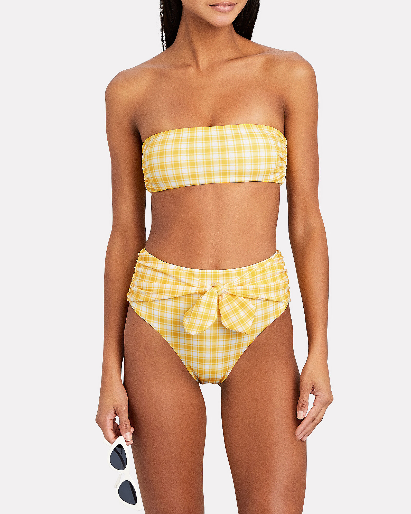 Azoia Gingham Tie Bikini Bottoms, YELLOW, hi-res