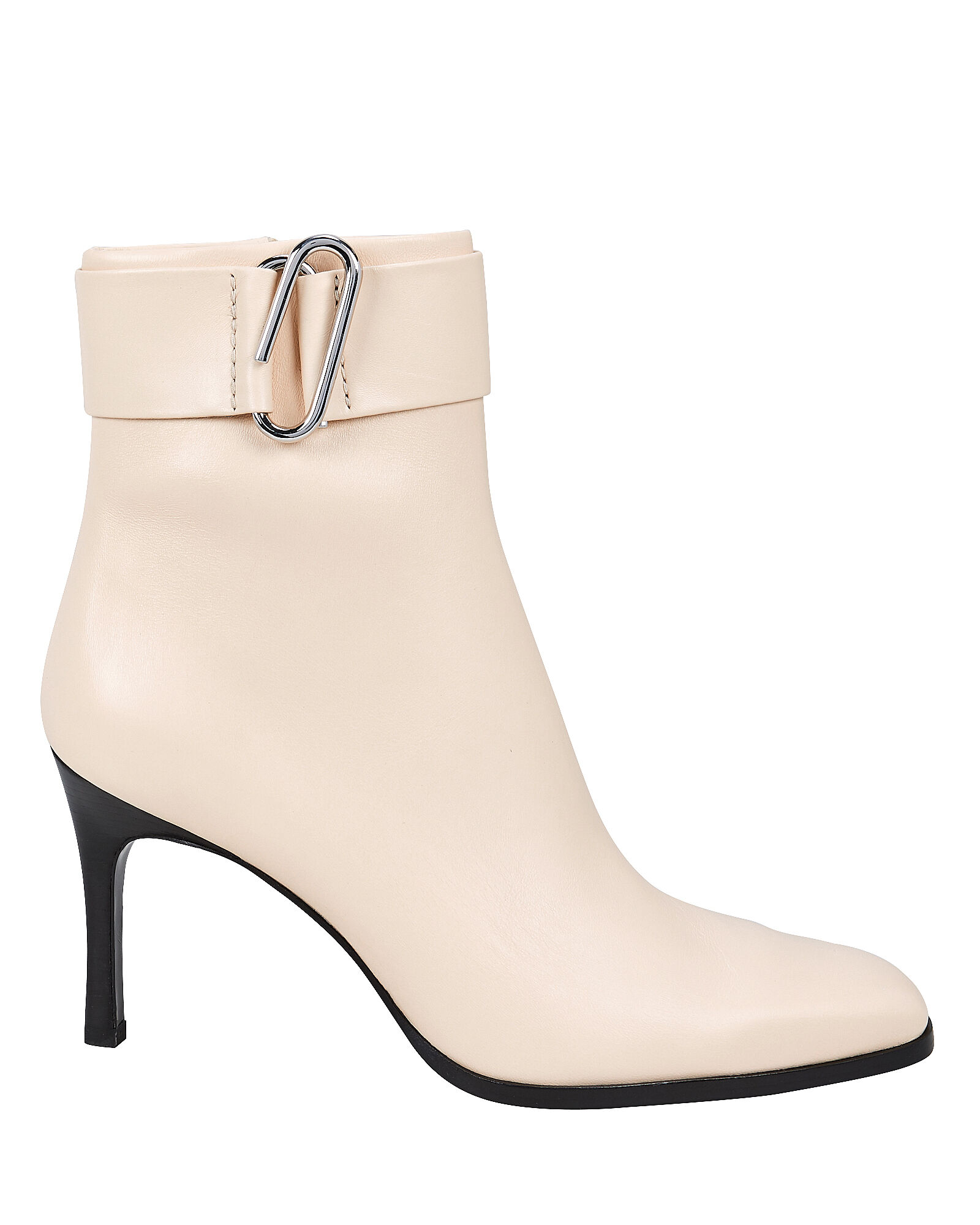 Alix Heeled Leather Booties, IVORY, hi-res
