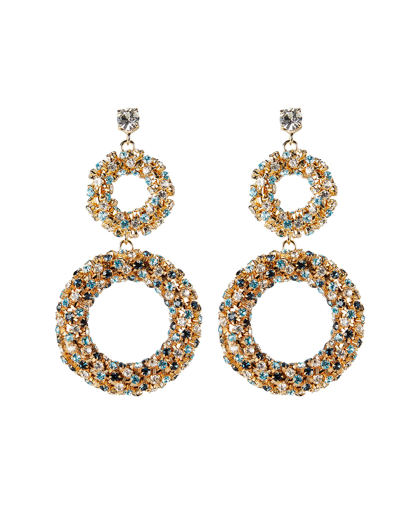 Caos Crystal Ring Drop Earrings, CLEAR, hi-res