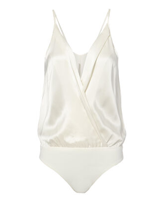 Silk Cami Cross Front White Bodysuit, WHITE, hi-res