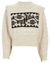Rioja Jacquard Cable Knit Sweater, IVORY, hi-res