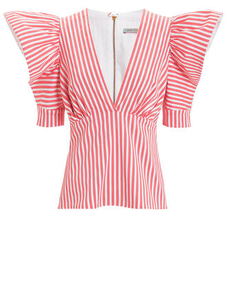 Top Ten Blouse, RED/WHITE/STRIPES, hi-res
