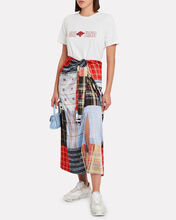 Patchwork Knotted Silk Skirt, RED/BLUE PATCHWORK, hi-res