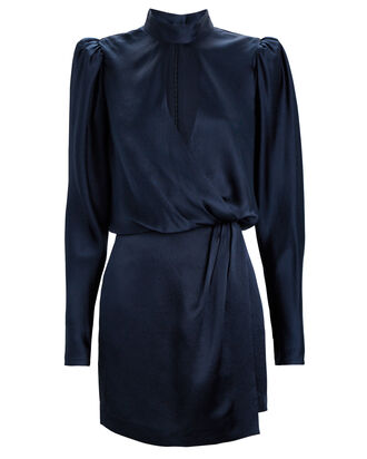 Party Silk Wrap Dress, NAVY, hi-res