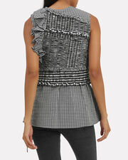 Gathered Gingham Tank, BLK/WHT, hi-res