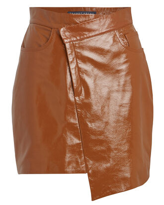 Asymmetrical Patent Leather Mini Skirt, BROWN, hi-res