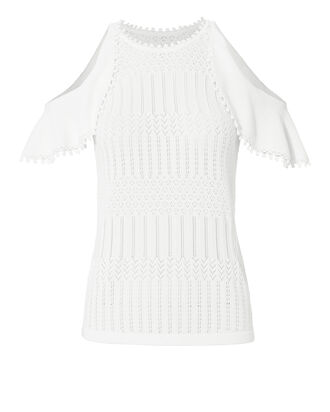 Crochet Lace Cold Shoulder Top, WHITE, hi-res