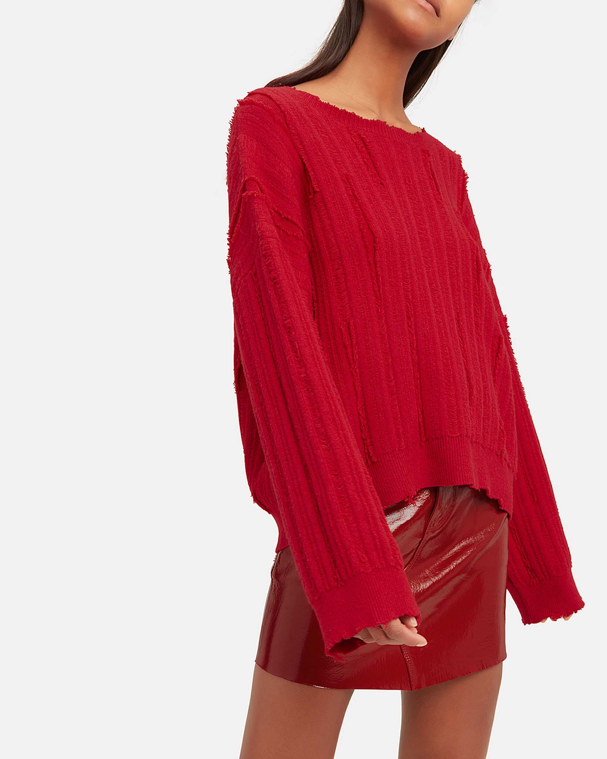 Emmet Distressed Cherry Red Sweater, cherry red, hi-res