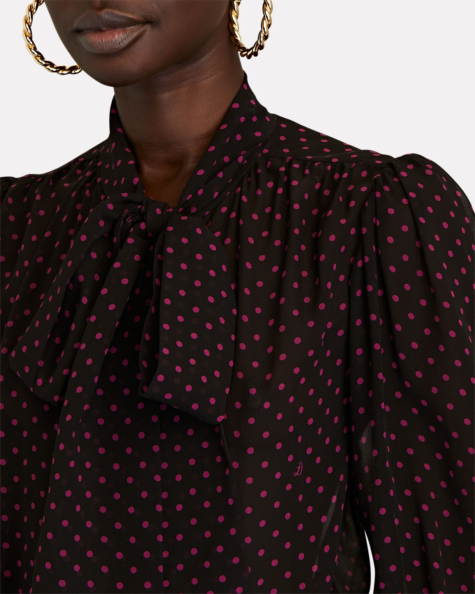 Silk Polka Dot Tie-Neck Blouse, BLACK, hi-res