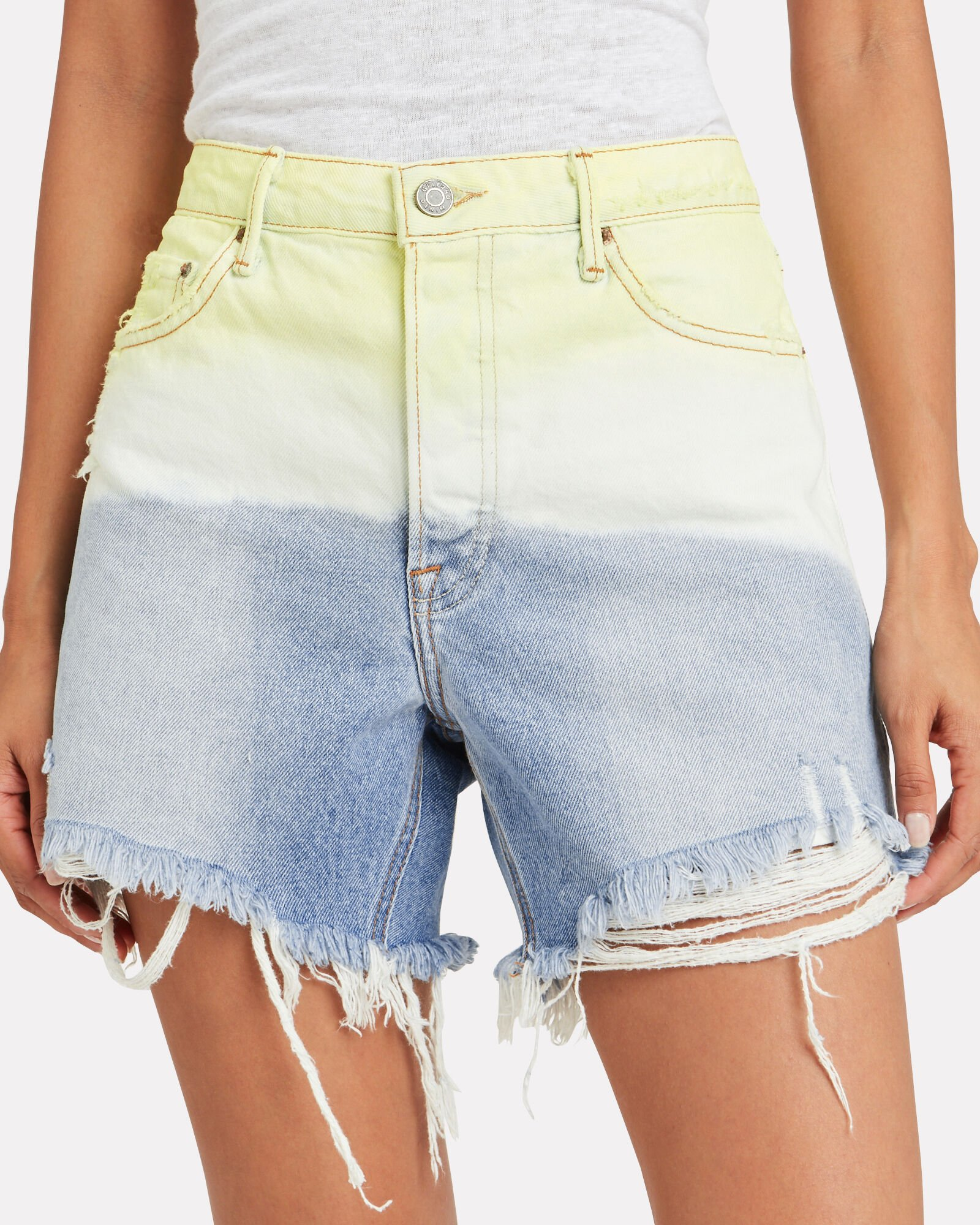 Jourdan Cut-Off Denim Shorts, YELLOW TIE-DYE, hi-res