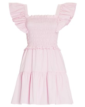 Smocked Flutter Cotton Mini Dress, PINK, hi-res