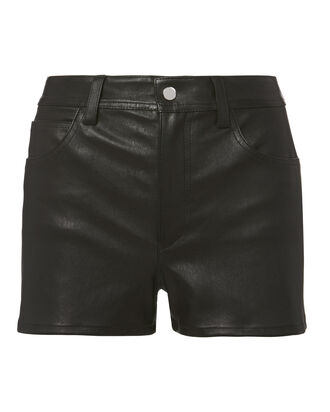 Stretch Leather Shorts, BLACK, hi-res