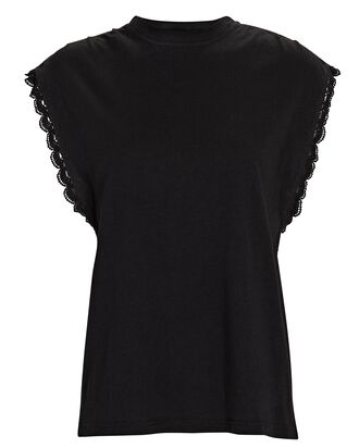 Sayles Lace-Trimmed Muscle Tank, BLACK, hi-res