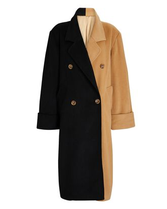 Minka Two-Tone Double-Breasted Coat, BROWN, hi-res