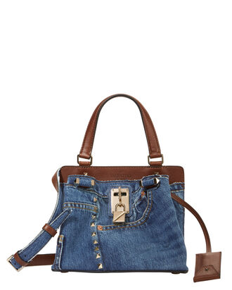 Joylock Denim Small Tote, DENIM, hi-res