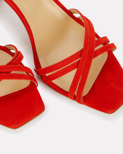 Annabella Suede Strappy Sandals, RED, hi-res